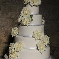White rose and diamonds wedding cake