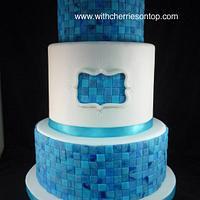 marbled mosaic wedding cake