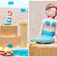Sand castle cake for a 1st birthday