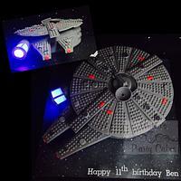 LEGO Millennium Falcon cake (with lights)