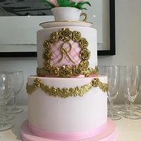 Sugar peony and cup and saucer cake