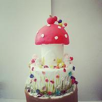 mushroom birthday cake.