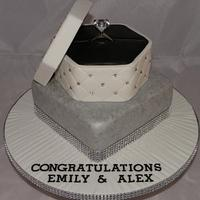 Diamond ring box engagement cake