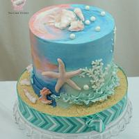 Beach Themed Cake with Two Sides