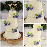 Rustic Wedding Cake with sugar flowers