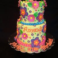 Whimsical 21th Birthday Cake