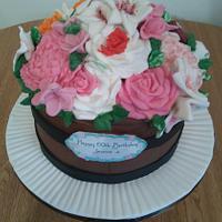 Floral barrel of cake