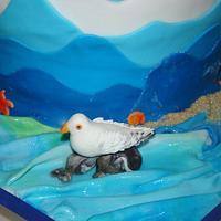 Boat cake, sea and beach