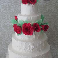 White rustic and red roses