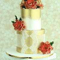 """Regal Coral"" Wedding Cake"