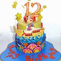"""Beatles """" yellow submarine """" cake"""