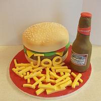 Burger and Bud cake