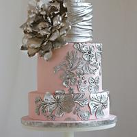 Blush and silver Romantic Wedding Cake