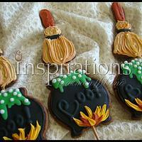 Witch pot lollipop cookie