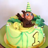Banana cake with monkey