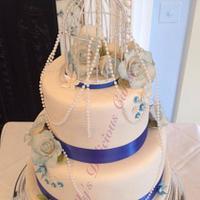 Royal Blue Bird Cage Wedding Cake