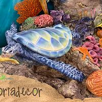 Sea turtles in the coral reef