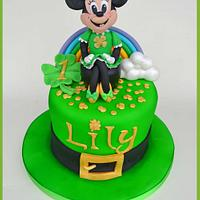 Minnie Mouse St Patrick's day themed cake  by MamaG