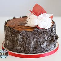 Tree Trunk Cake with Wafer Paper Chrysanthemums