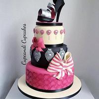 Baroque bow shoe cake