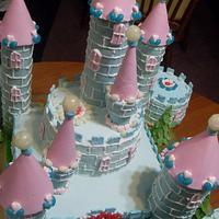 girl's fantacy castle cake