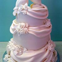 3 Tier Doves Wedding Cake