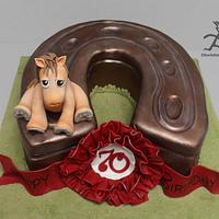 Vintage Horseshoe & Horse Cake for a 70 Year Old Horse Racing Fan