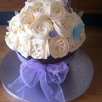 Giant lilac cupcake