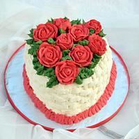 Red Heart Roses cake