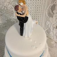 Blue & silver ribboned wedding cake by CakesbyCorrina
