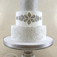 Edible Beaded Sash and Piped Corded Lace Wedding Cake