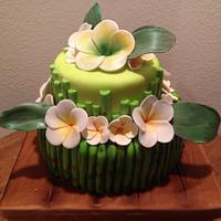Plumeria and bamboo cake