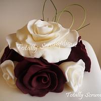 Burgandy & Ivory Roses