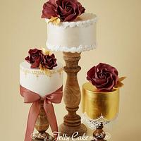 Marsala and Gold Wedding Cakes