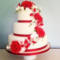 Red Rose, Freesia and Alstromeria Cascade Wedding Cake