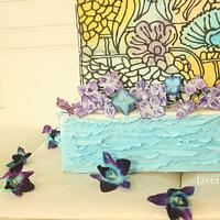 A stained glass 3-tiered cakes
