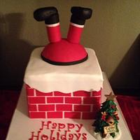 Santa in chimney cake.