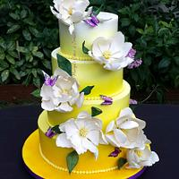 Ombre magnolia wedding cake