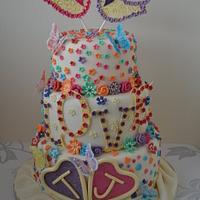 Colourful Love Bird Wedding Cake