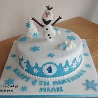 Frozen cake with handmade Olaf x