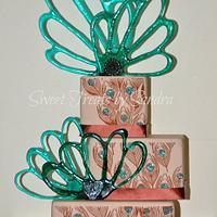 Peacock Cake with Isomalt Decorations
