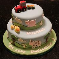 Farm animals dedication cake