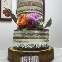 Naked cake with wafer flowers