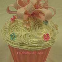 Giant birthday cupcake