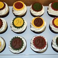 Fall colored monogram cupcake
