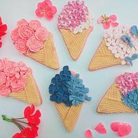 Flowery ice cream cones