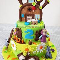 Masha and Bear theme fondant cake with 3D Masha, Bear, house figures for girl's 2nd birthday