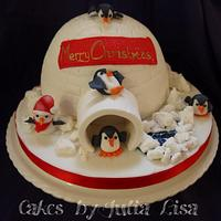 Igloo Christmas Cake with penguins