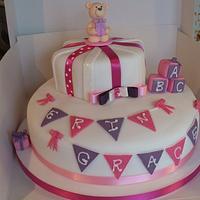 Bunting christening cake