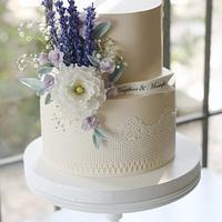 Lavander Flowers Wedding Cake